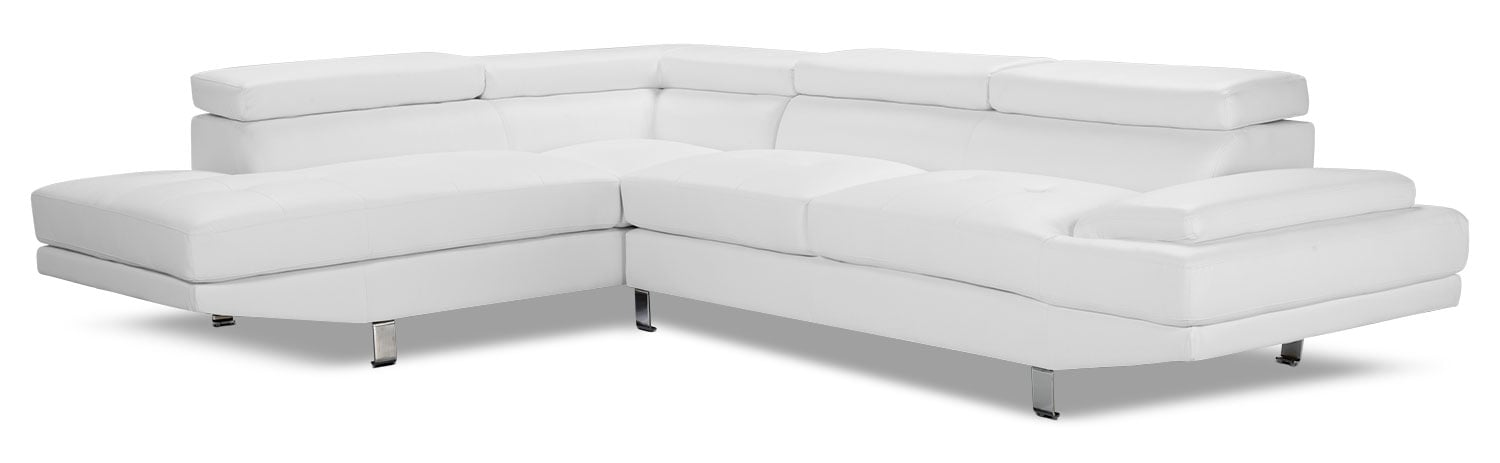 Zane 2-Piece Faux Leather Studio-Size Sectional with Left-Facing Chaise – White