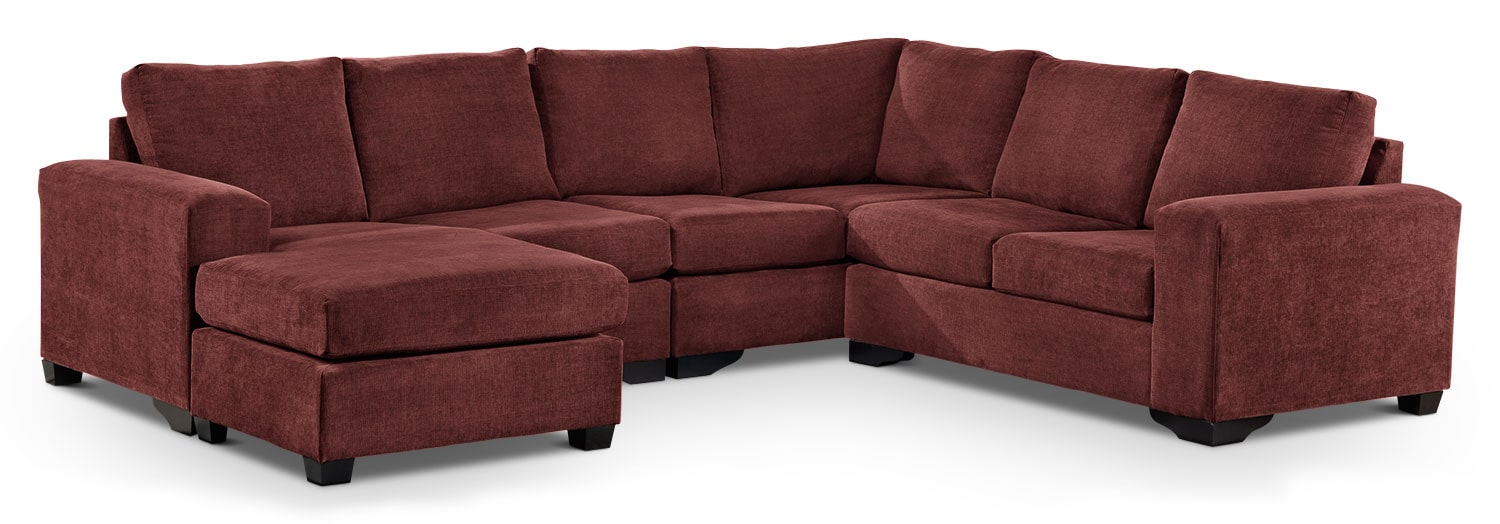 Living Room Furniture - Danielle 3-Piece Sectional with Modular Chaise - Mulberry