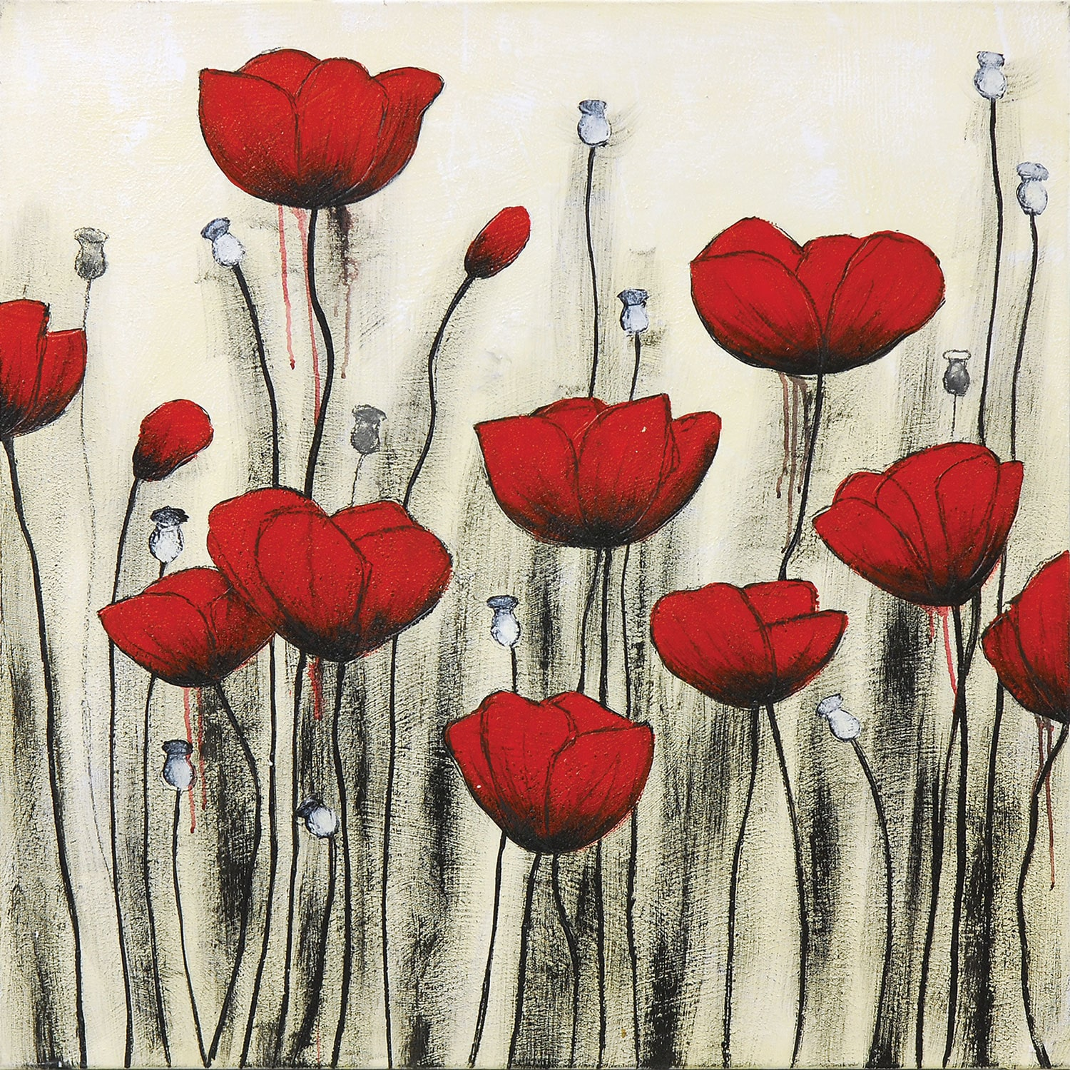 "Accent and Occasional Furniture - Poppies Canvas Art (40"" X 40"")"