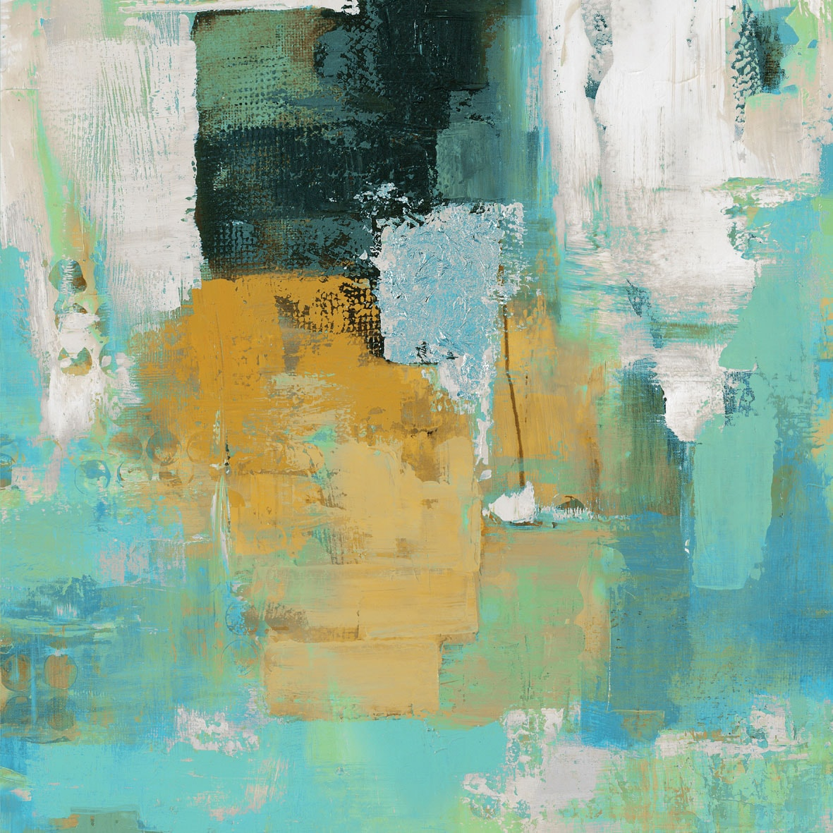 "Accent and Occasional Furniture - Glided Teal Canvas Art (30"" X 40"")"