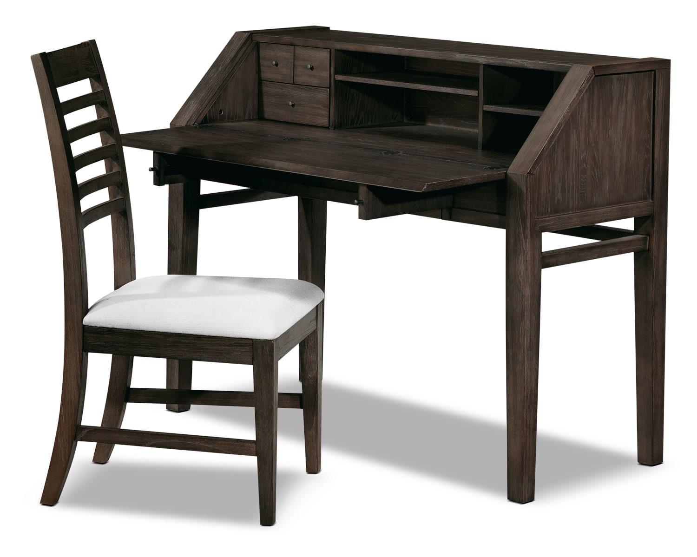 Bedroom Furniture - Bravo 2-Piece Desk and Chair Set - Platinum Oak