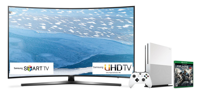 "Televisions - Samsung 55"" 4K UHD Smart LED with FREE Xbox One Bundle - UN55KU7500FXZC/XBOX ONE"