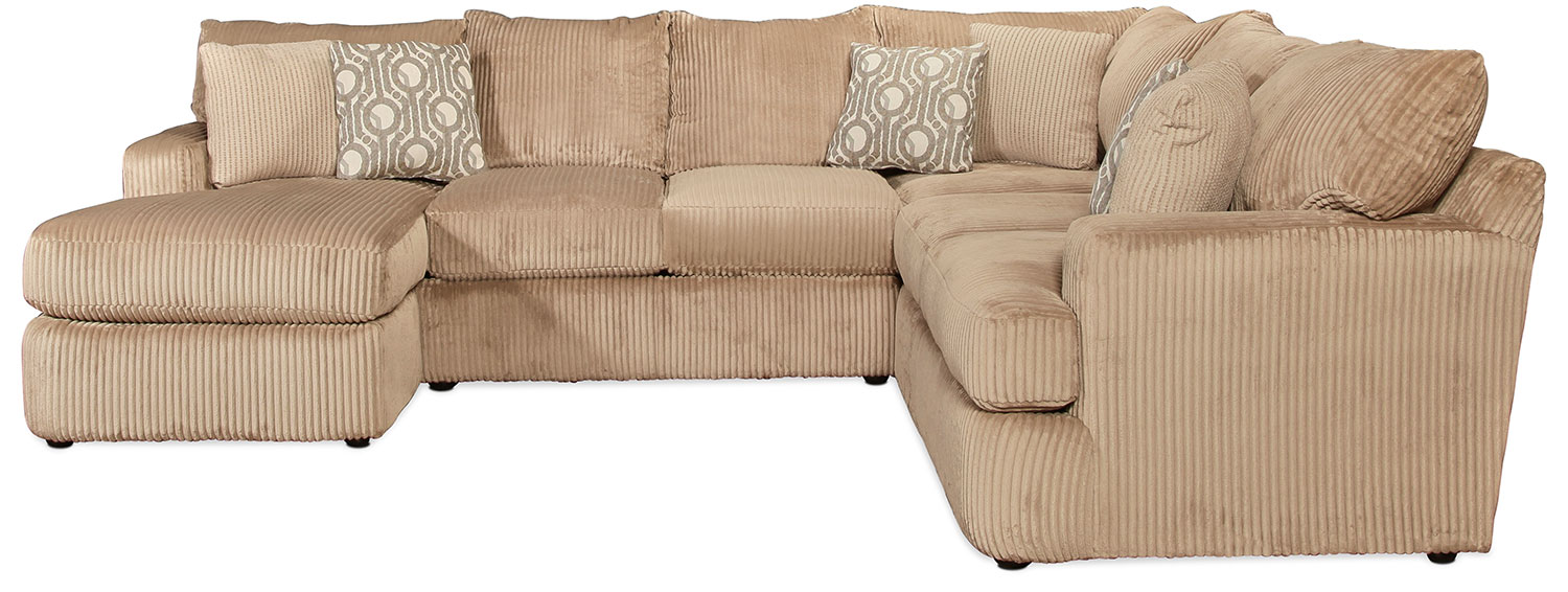 Living Room Furniture - Sacramento 3-Piece Left-Facing Sectional - Toast