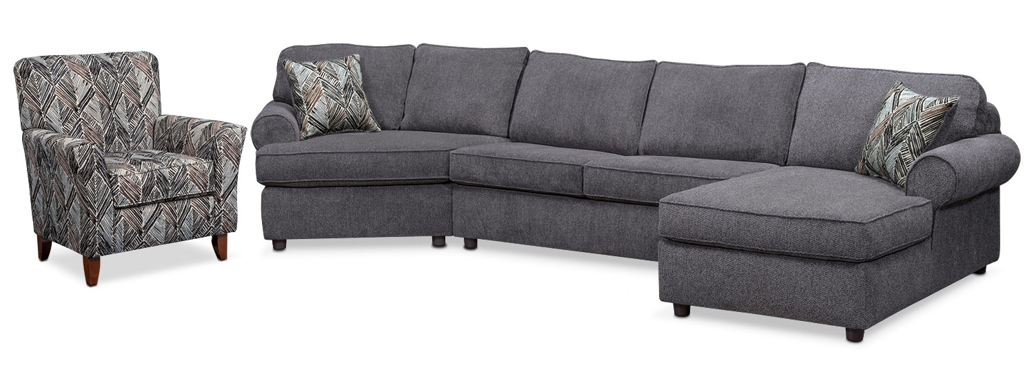 Lakelyn 3-Piece Sectional with Left-Facing Chaise and ...