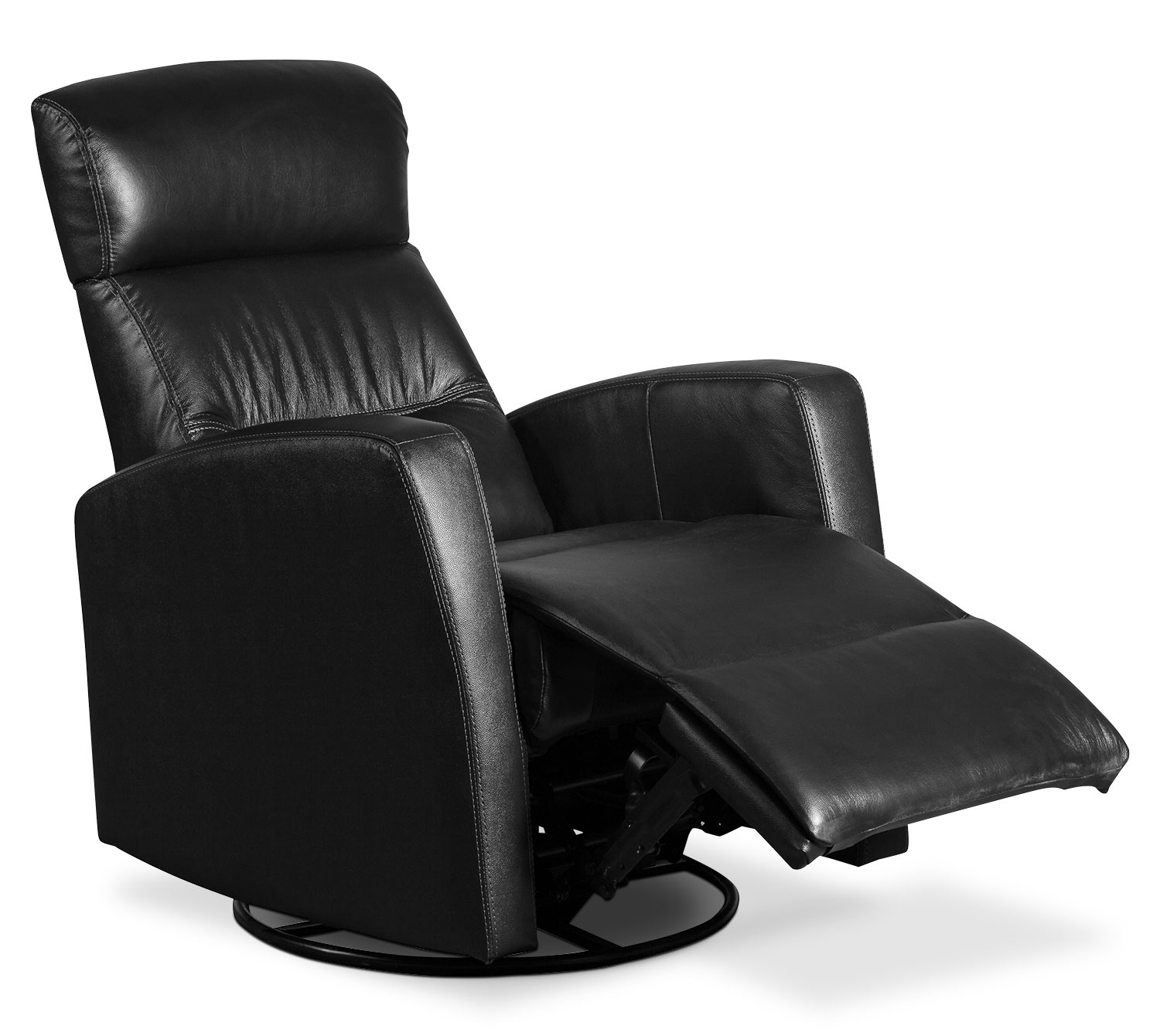 Penny genuine leather swivel rocker reclining chair black the brick for Swivel chairs living room sale
