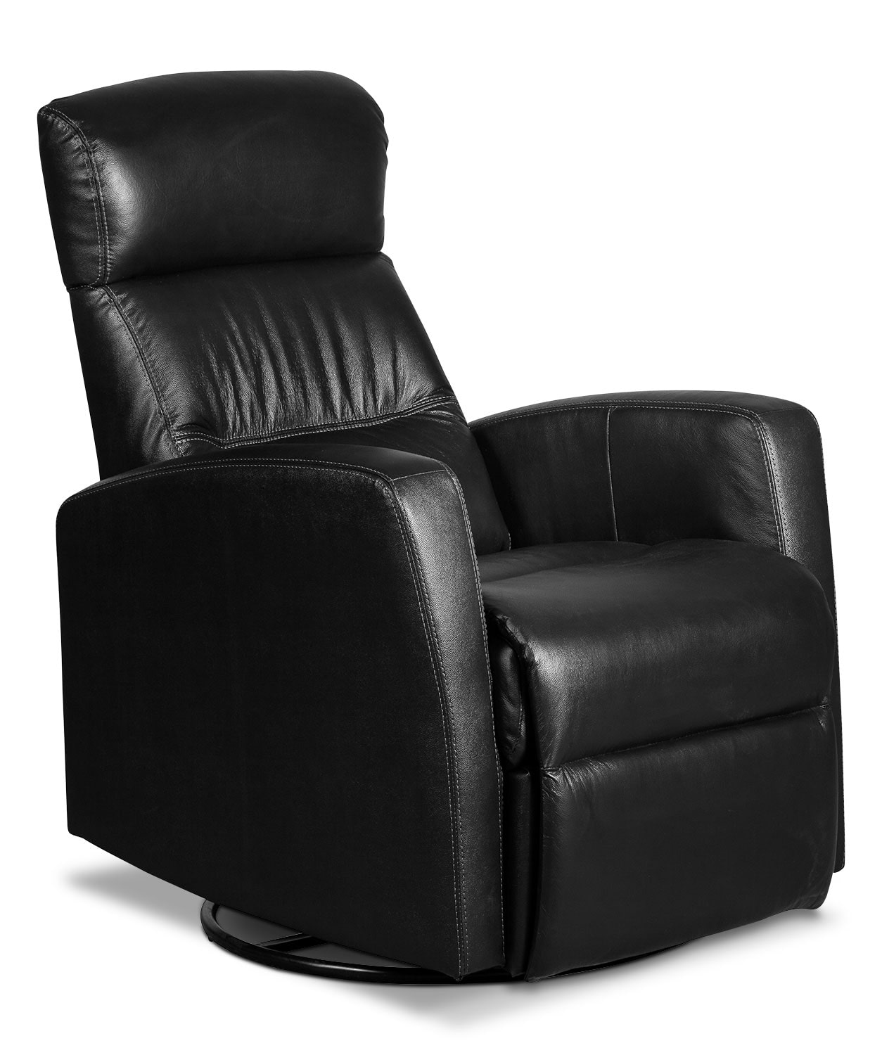 penny genuine leather swivel rocker reclining chair black the brick. Black Bedroom Furniture Sets. Home Design Ideas