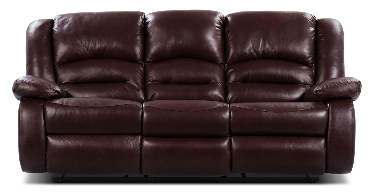 Toreno Burgundy Genuine Leather Reclining Sofa