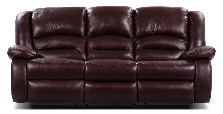 Living Room Furniture - Toreno Burgundy Genuine Leather Reclining Sofa