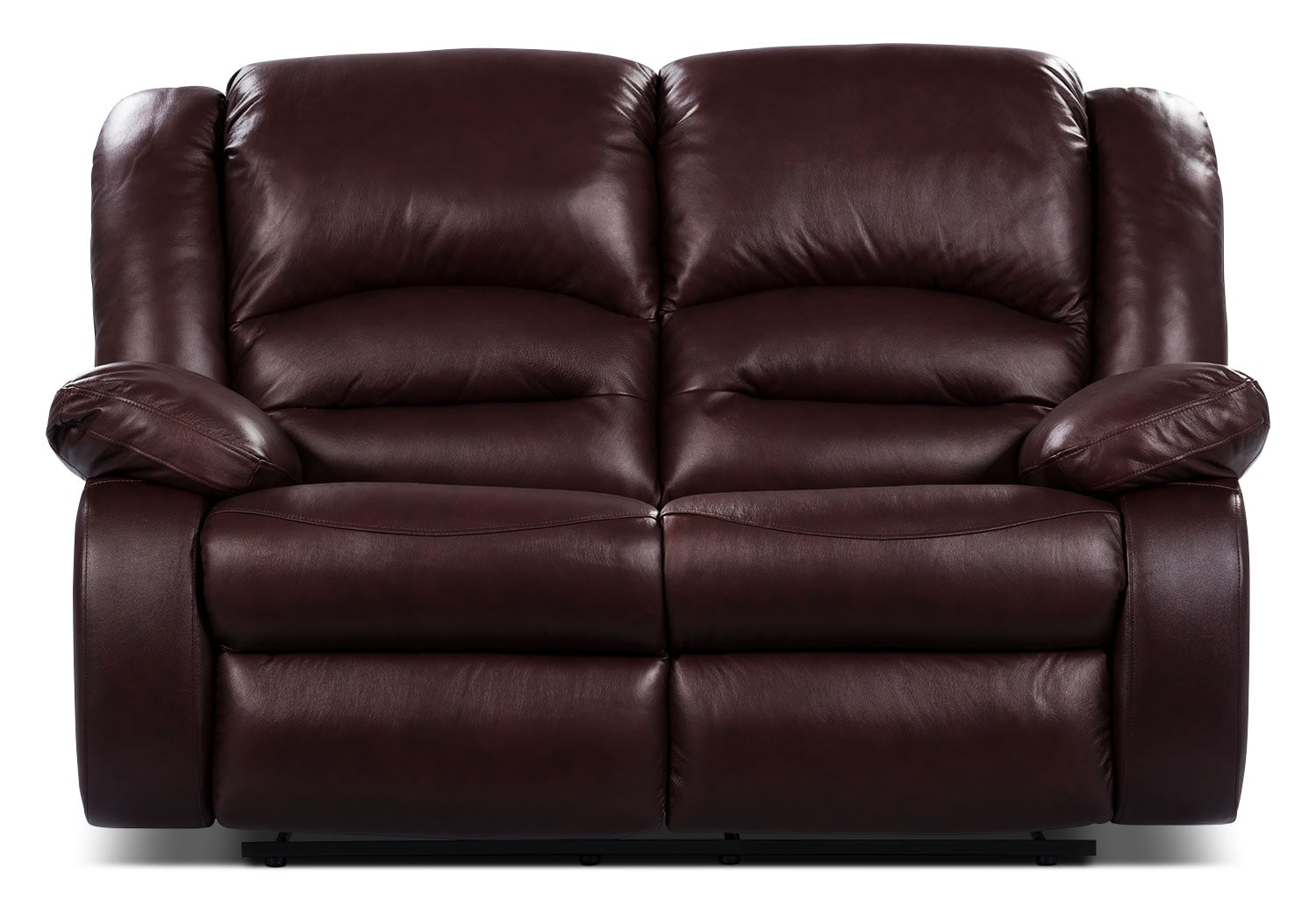 Toreno genuine leather reclining loveseat burgundy the brick Burgundy leather loveseat
