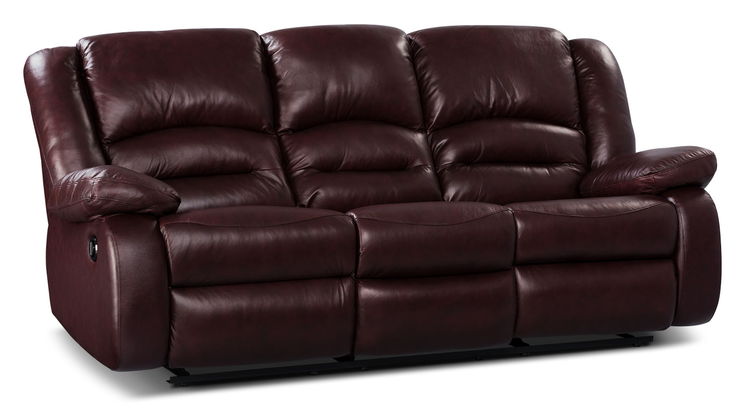 Toreno Genuine Leather Power Reclining Sofa Burgundy The Brick