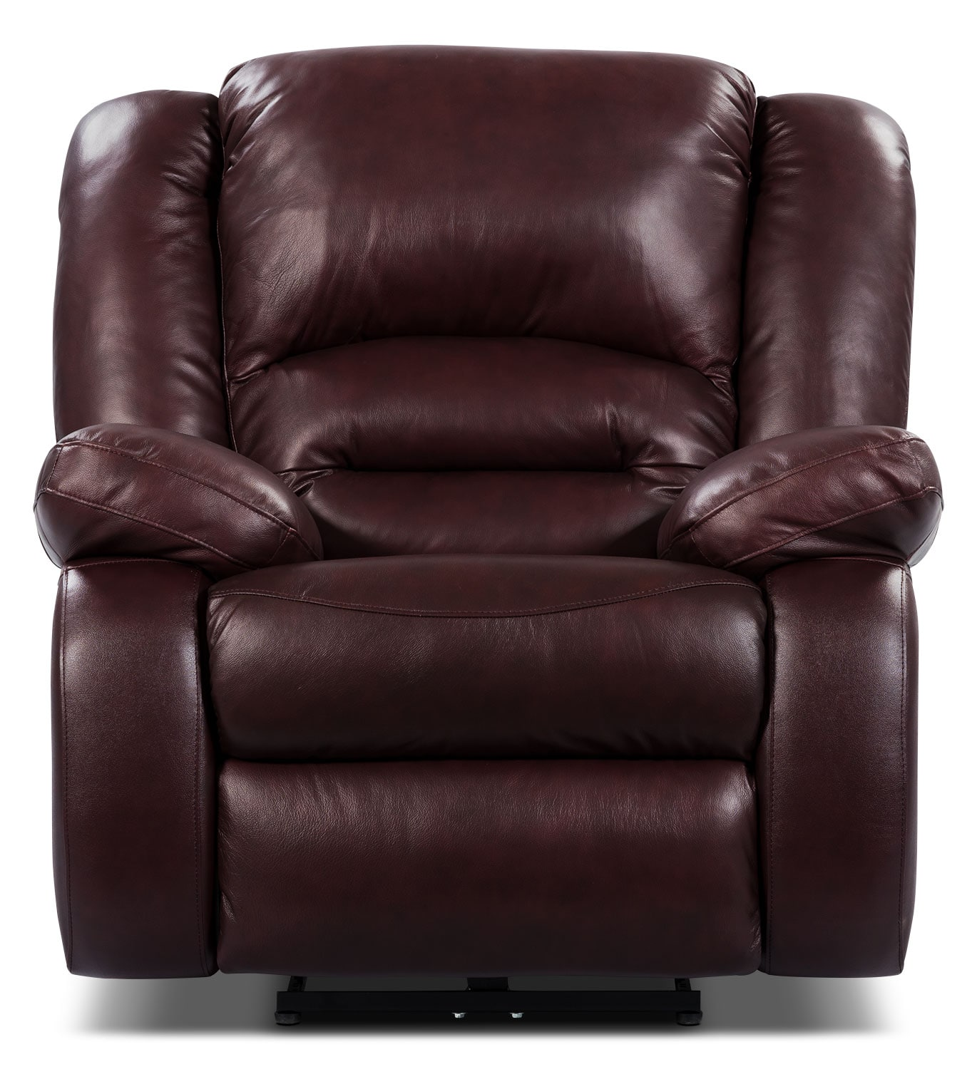 Living Room Furniture - Toreno Burgundy Genuine Leather Power Recliner