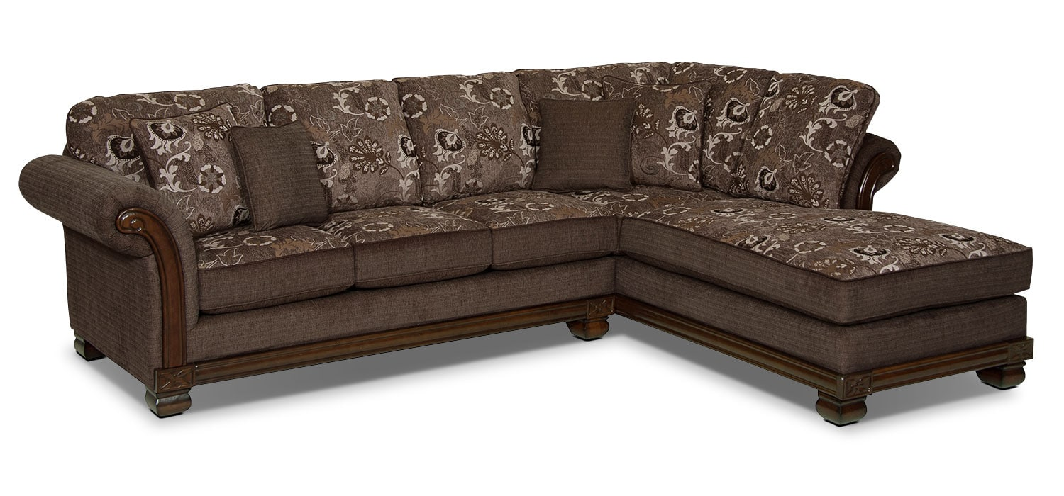 Living Room Furniture - Hazel 2-Piece Chenille Right-Facing Sectional - Quartz