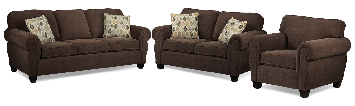 Celine Sofa, Loveseat and Chair Set - Chocolate