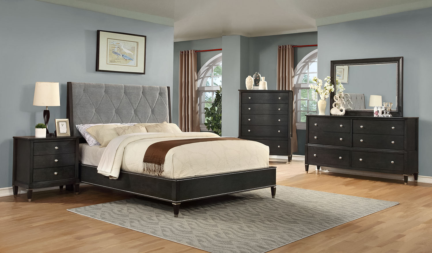 Bedroom Furniture - Nelson 5-Piece Queen Bedroom Set - Pewter
