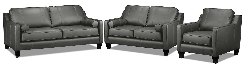 Selinda Sofa, Loveseat and Chair Set - Charcoal