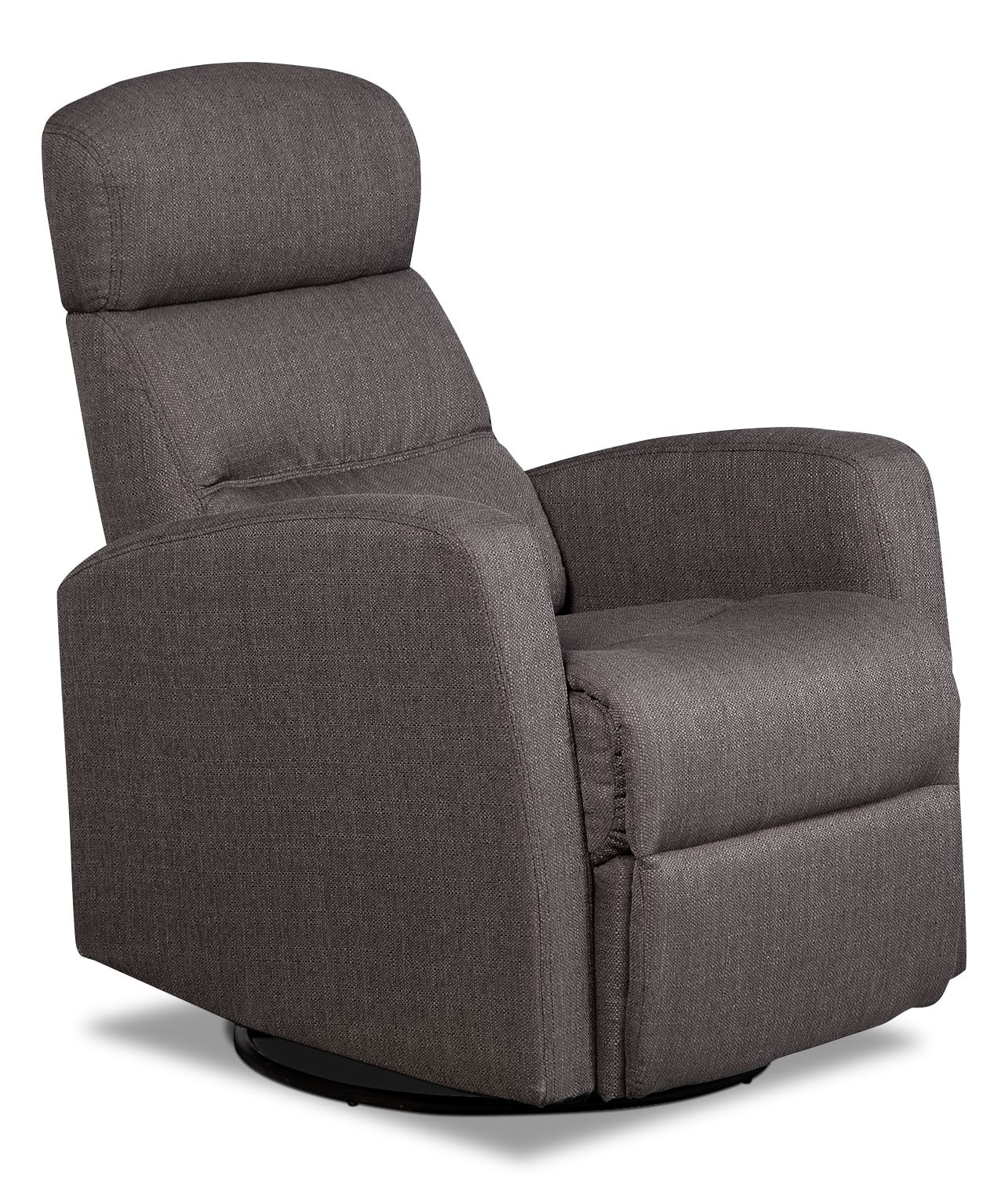 Living Room Furniture - Penny Linen-Look Fabric Swivel Rocker Reclining Chair – Grey