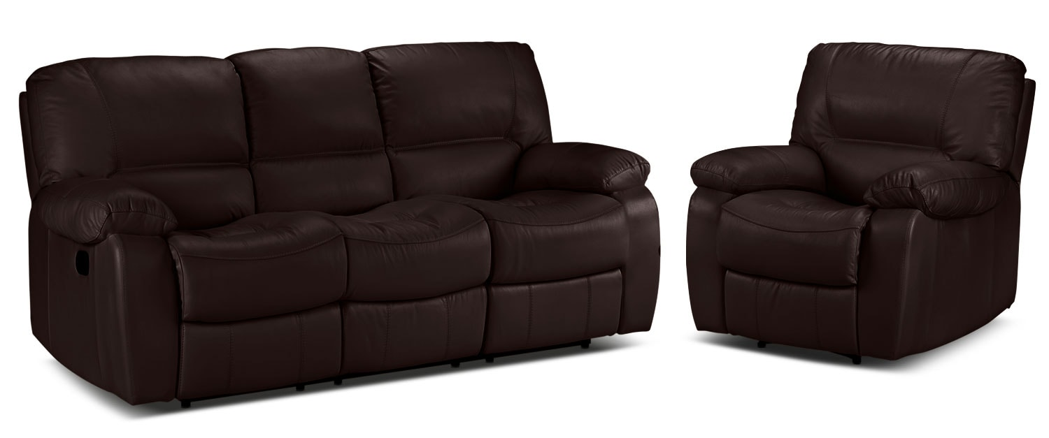 Piermont Reclining Sofa and Recliner Set - Chocolate