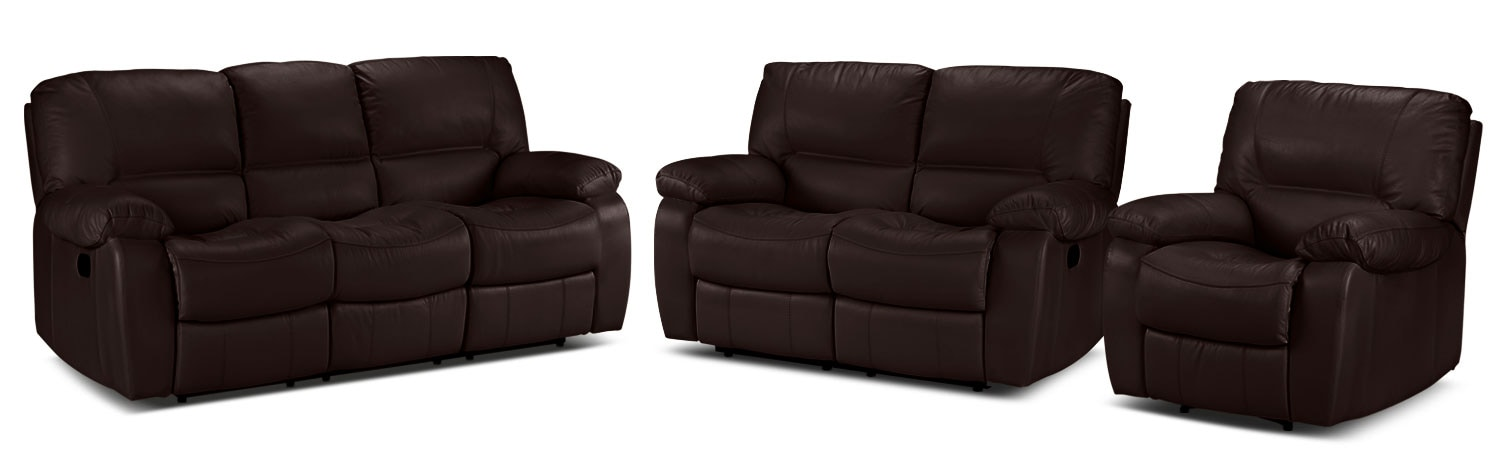 Piermont Reclining Sofa, Reclining Loveseat and Recliner Set - Chocolate