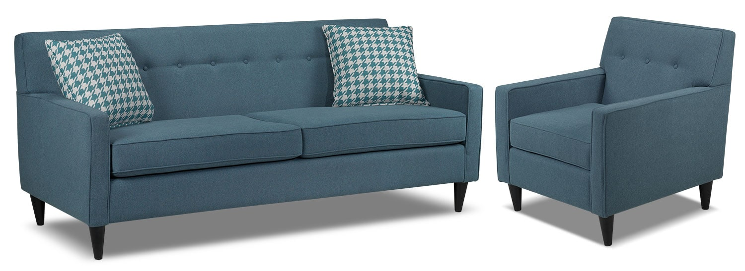Passerina Sofa and Chair Set - Blue
