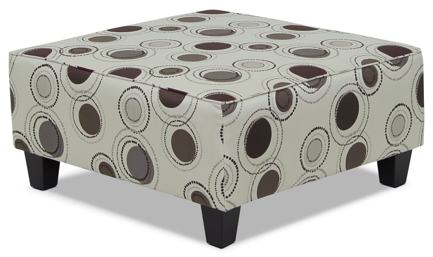 Living Room Furniture - Designed2B Fabric Accent Cocktail Ottoman – Stone
