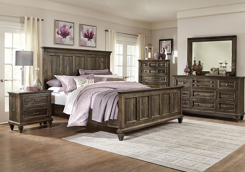 Calistoga 4 Piece Queen Bedroom Set Charcoal Levin