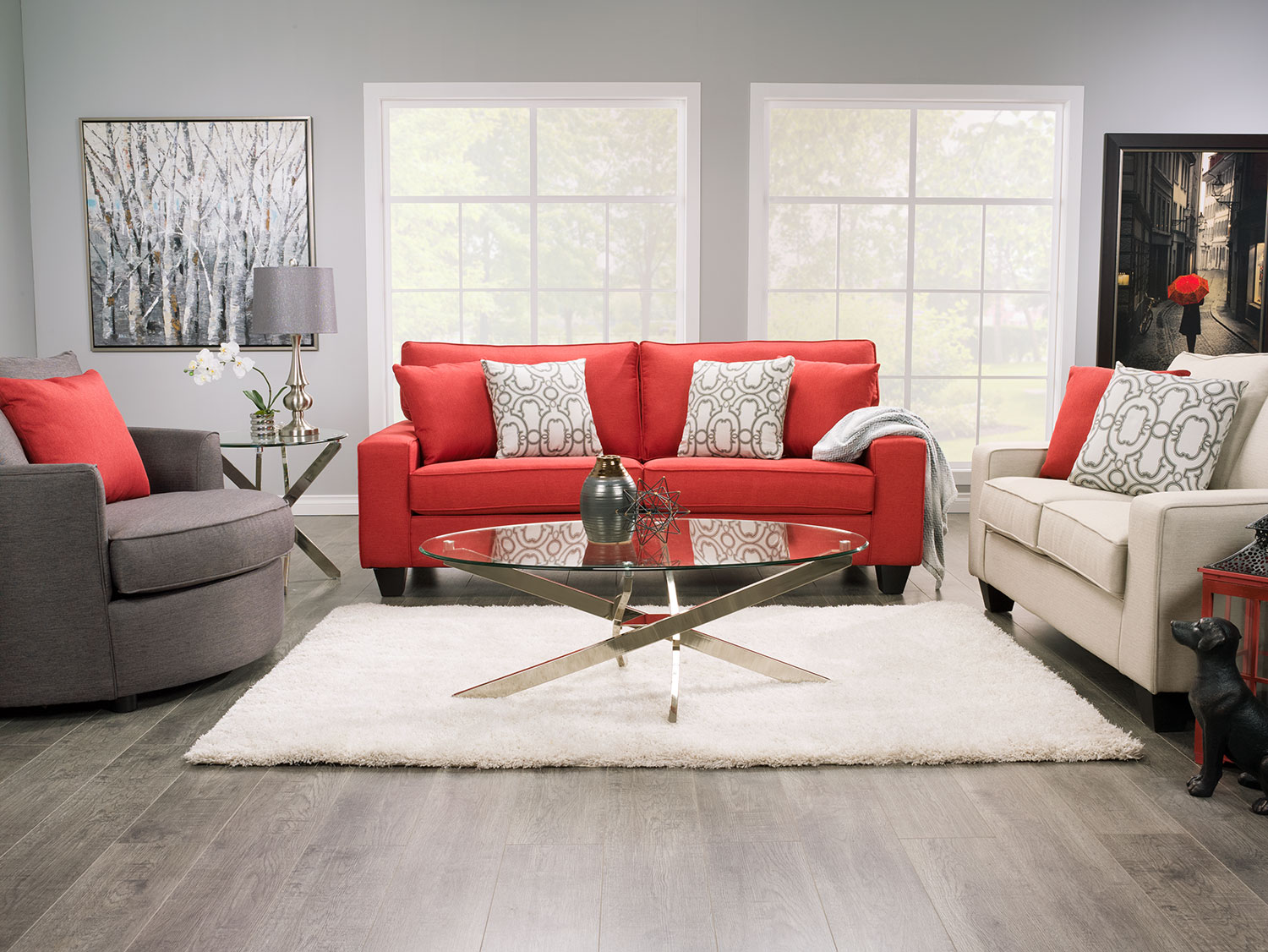 Designed2b dax linen look fabric sofa sophisticate coral for Living room fabric sofas