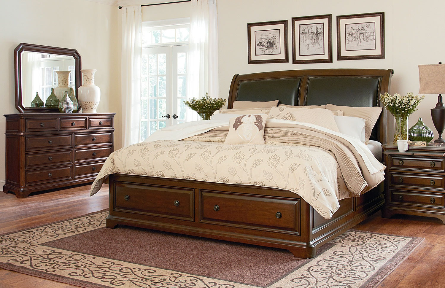 Huntington 4-Piece Queen Storage Bedroom Set - Brown Cherry