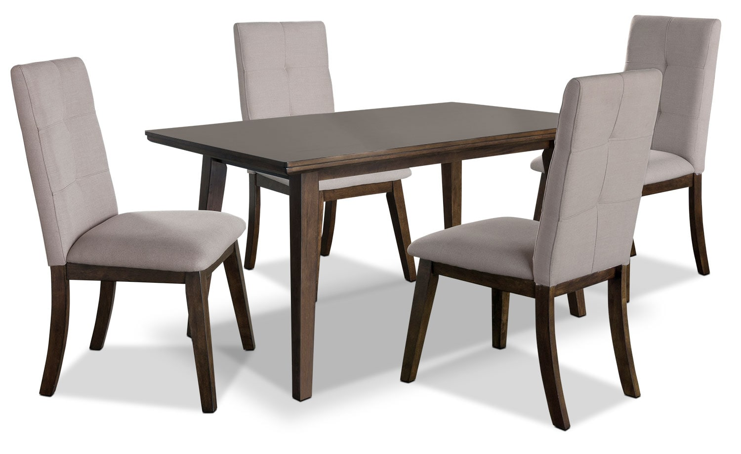 Dining Room Furniture - Chelsea 5-Piece Dining Table Package with Beige Chairs