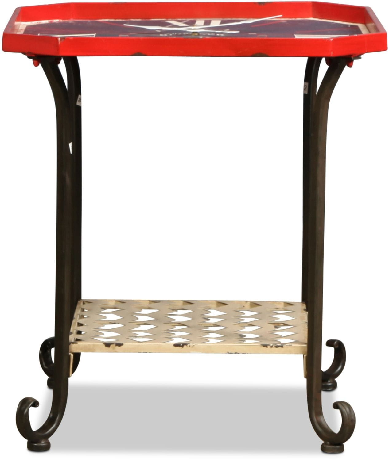 Clock Accent Table - Red and Black