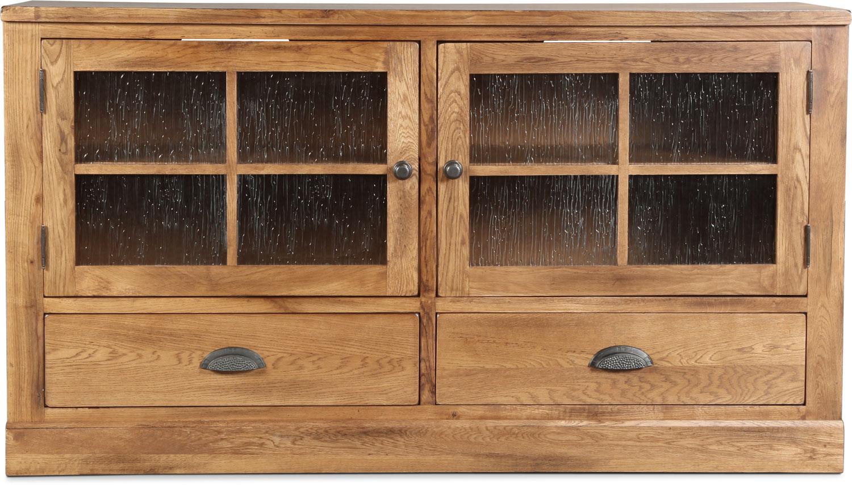 "Carlsbad 63"" TV Stand - Rustic Oak with Slate"