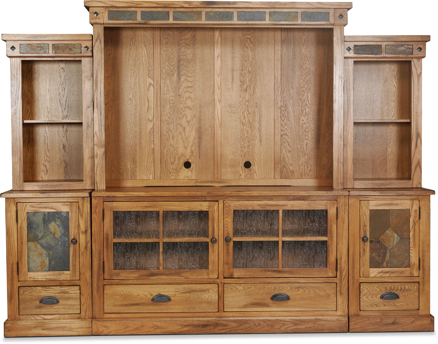 Carlsbad 6-Piece Entertainment Center - Rustic Oak with Slate