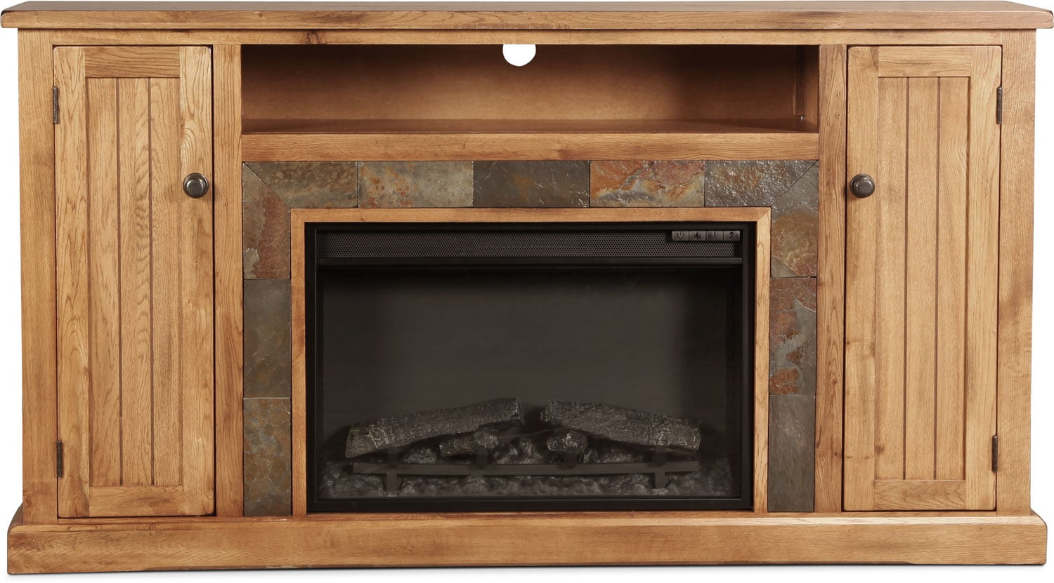 """Carlsbad 60"""" Fireplace TV Stand - Rustic Oak with Slate"""