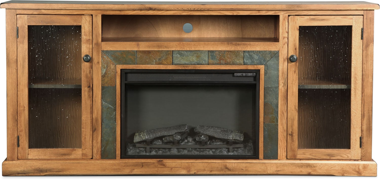 """Carlsbad 70"""" Fireplace TV Stand - Rustic Oak with Slate"""