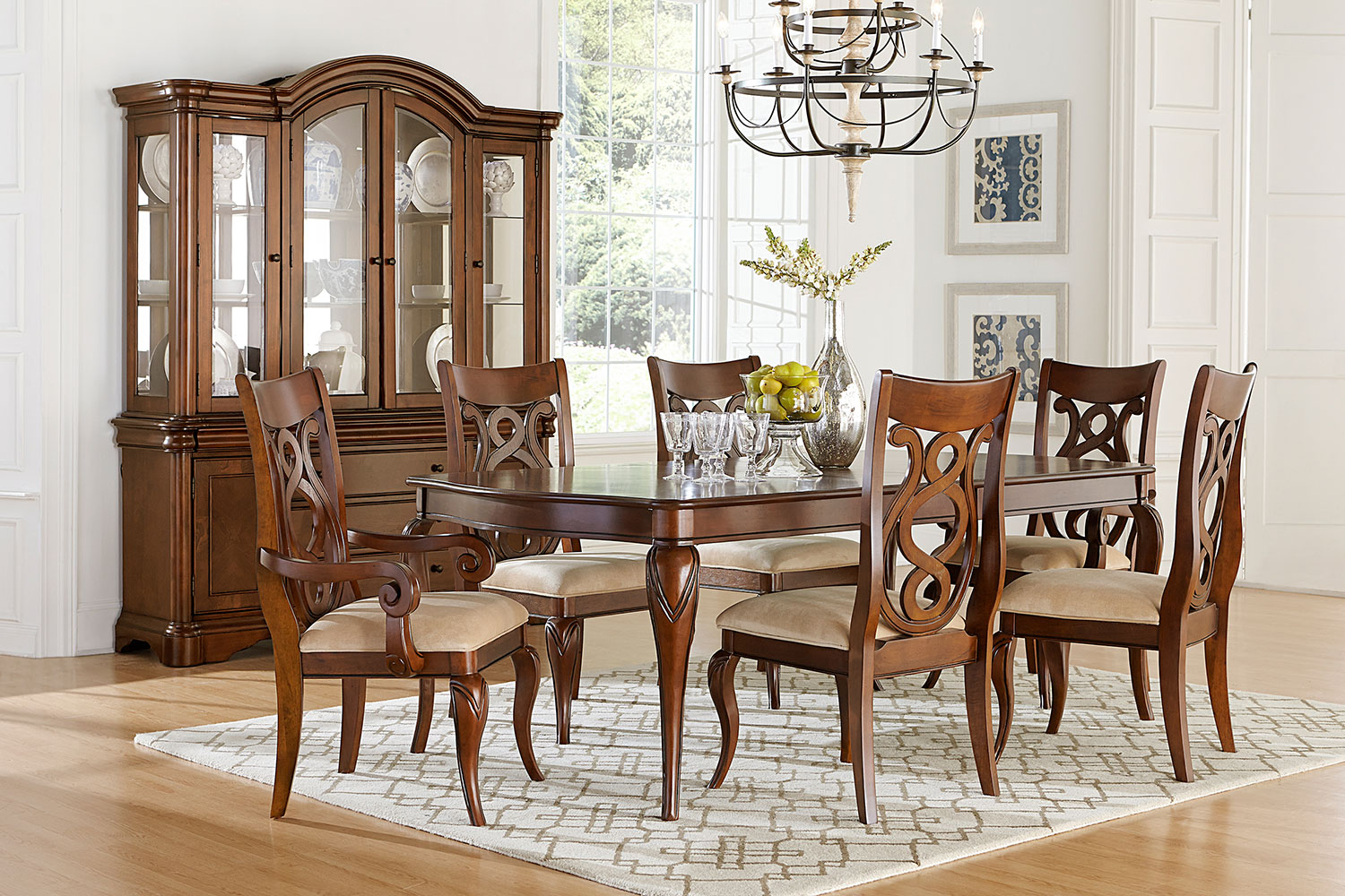 charles dining table, 4 side chairs and 2 arm chairs - auburn