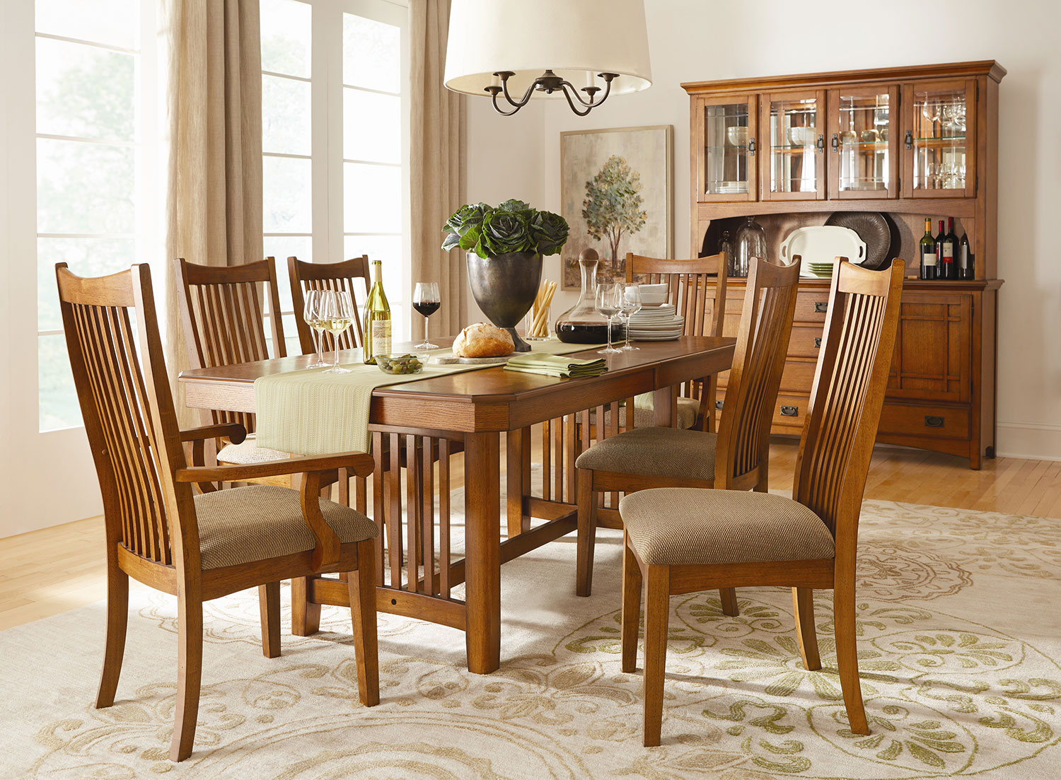 Crystal Ridge Table 2 Arm Chairs and 4 Side Chairs Oak
