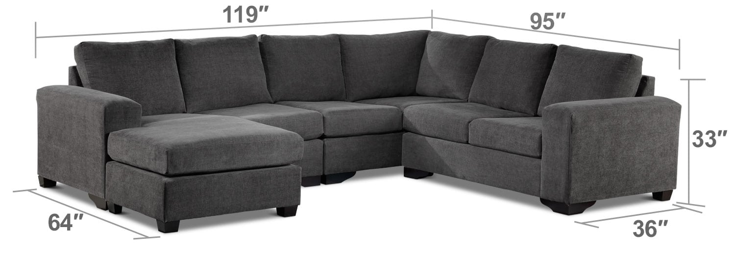 Living Room Furniture - Danielle 3-Piece Sectional with Left-Facing Corner Wedge - Grey