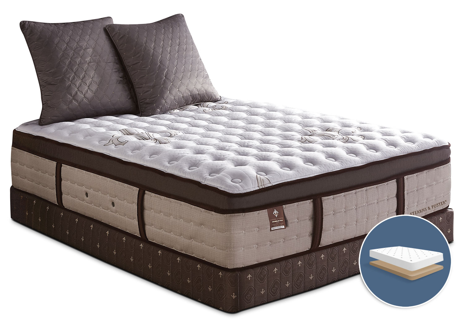 Mattresses and Bedding - Stearns & Foster Chamberlain Place Euro-Top Plush Low-Profile King Mattress Set
