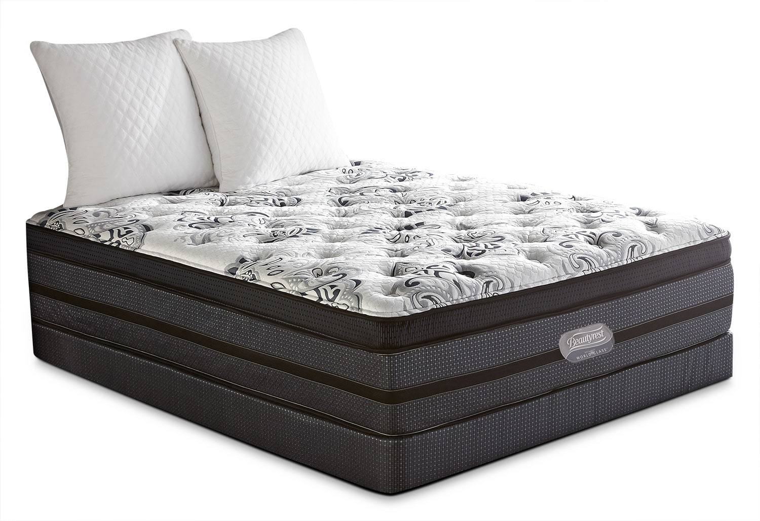 Mattresses and Bedding - Beautyrest® World Class Paxson Comfort-Top Firm Low-Profile Split Queen Mattress Set