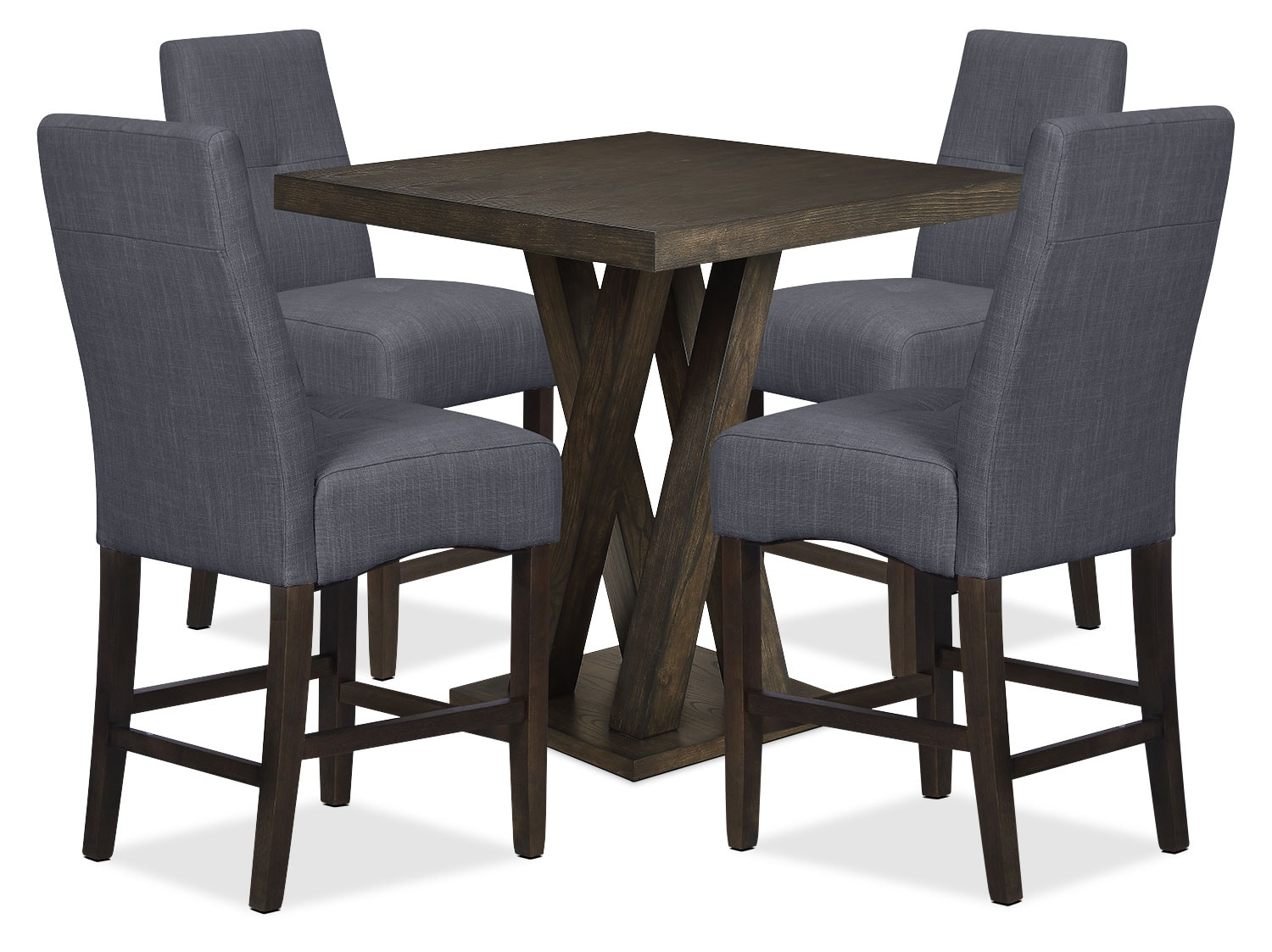 Dining Room Furniture - Soho 5-Piece Counter-Height Dining Package – Charcoal