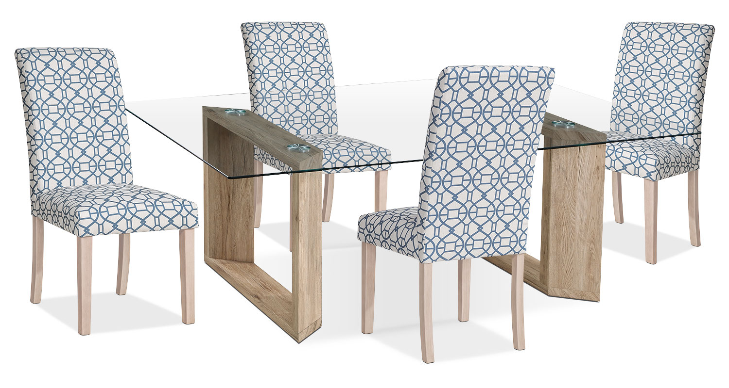 Dining Room Furniture - Aiden 5-Piece Dining Package with Kalen Chairs – Blue