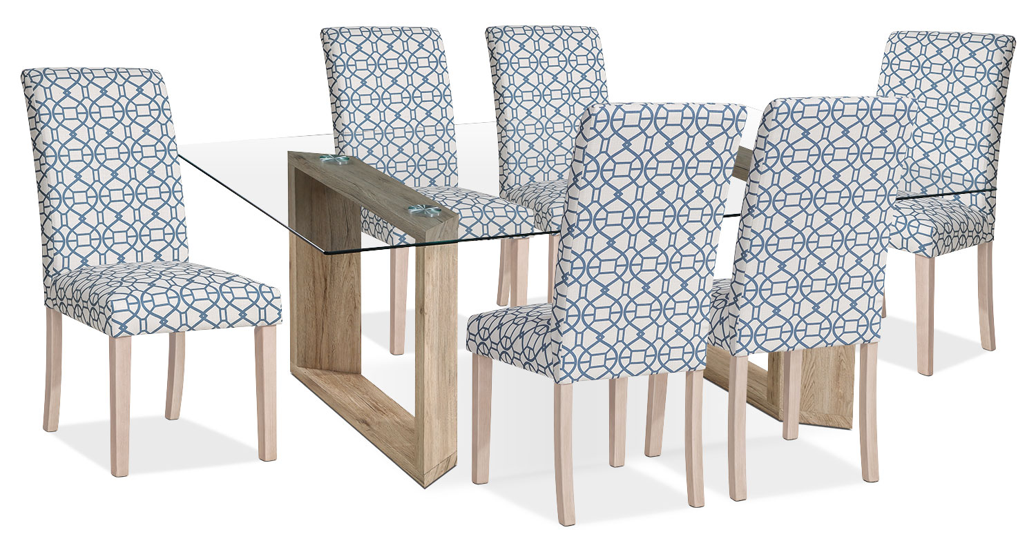 Dining Room Furniture - Aiden 7-Piece Dining Package with Kalen Chairs – Blue
