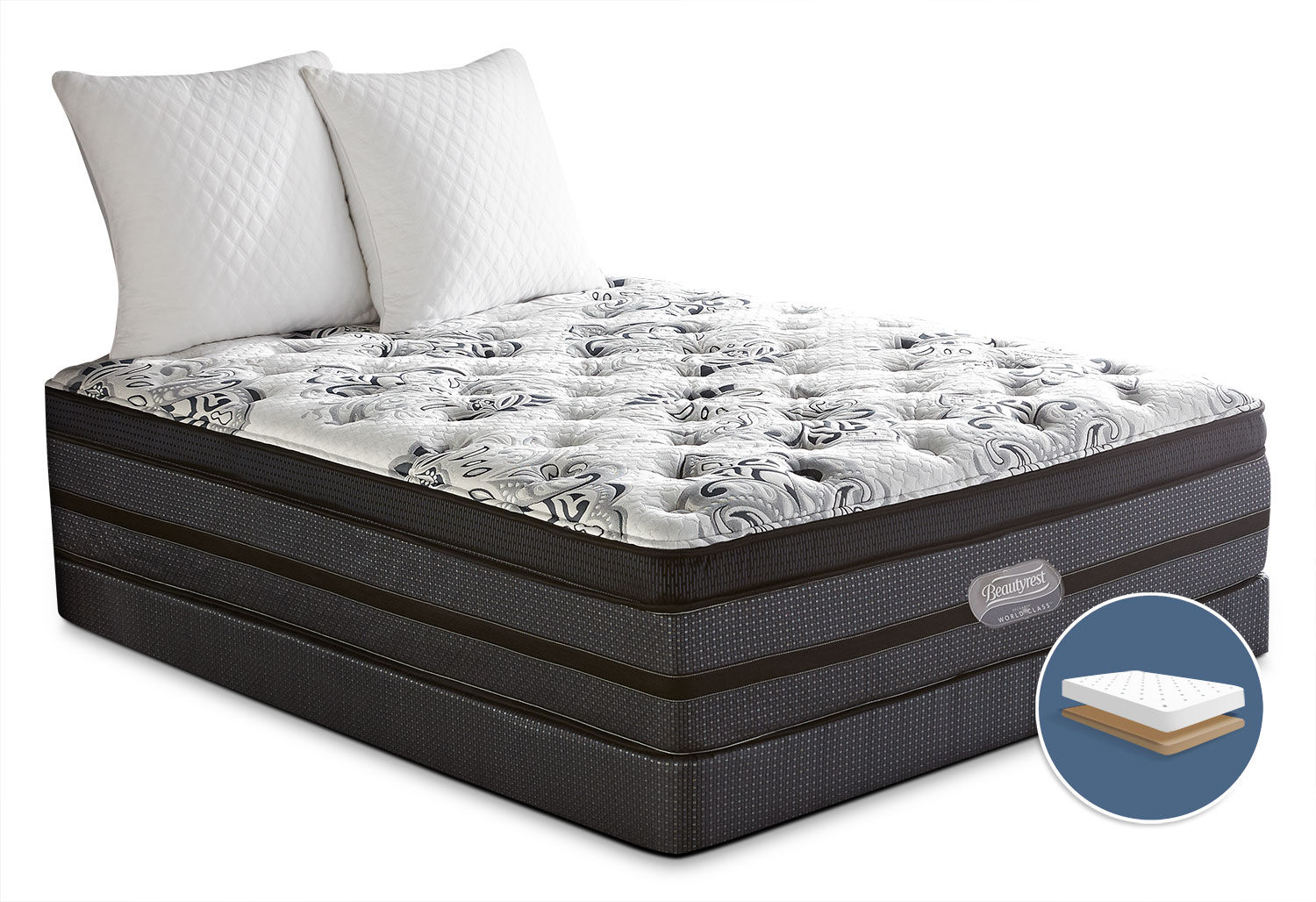 Mattresses and Bedding - Simmons Beautyrest® World Class Paxson Comfort-Top Firm Low-Profile King Mattress Set
