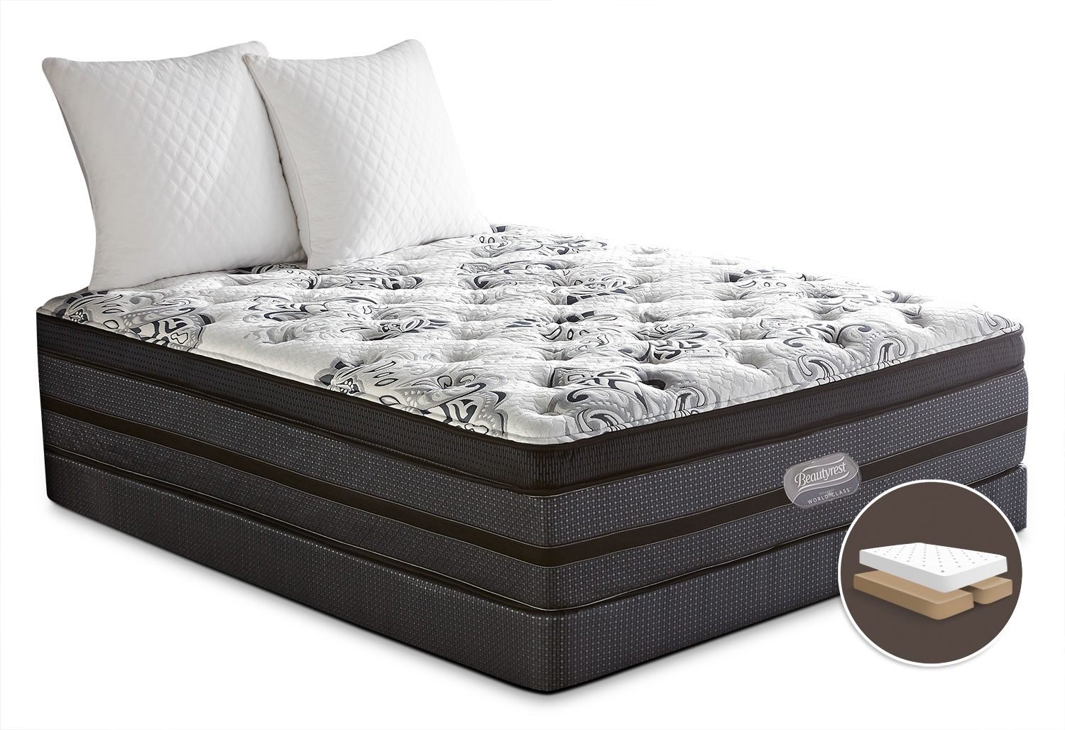 Mattresses and Bedding - Simmons Beautyrest® World Class Paxson Comfort-Top Firm Split Queen Set