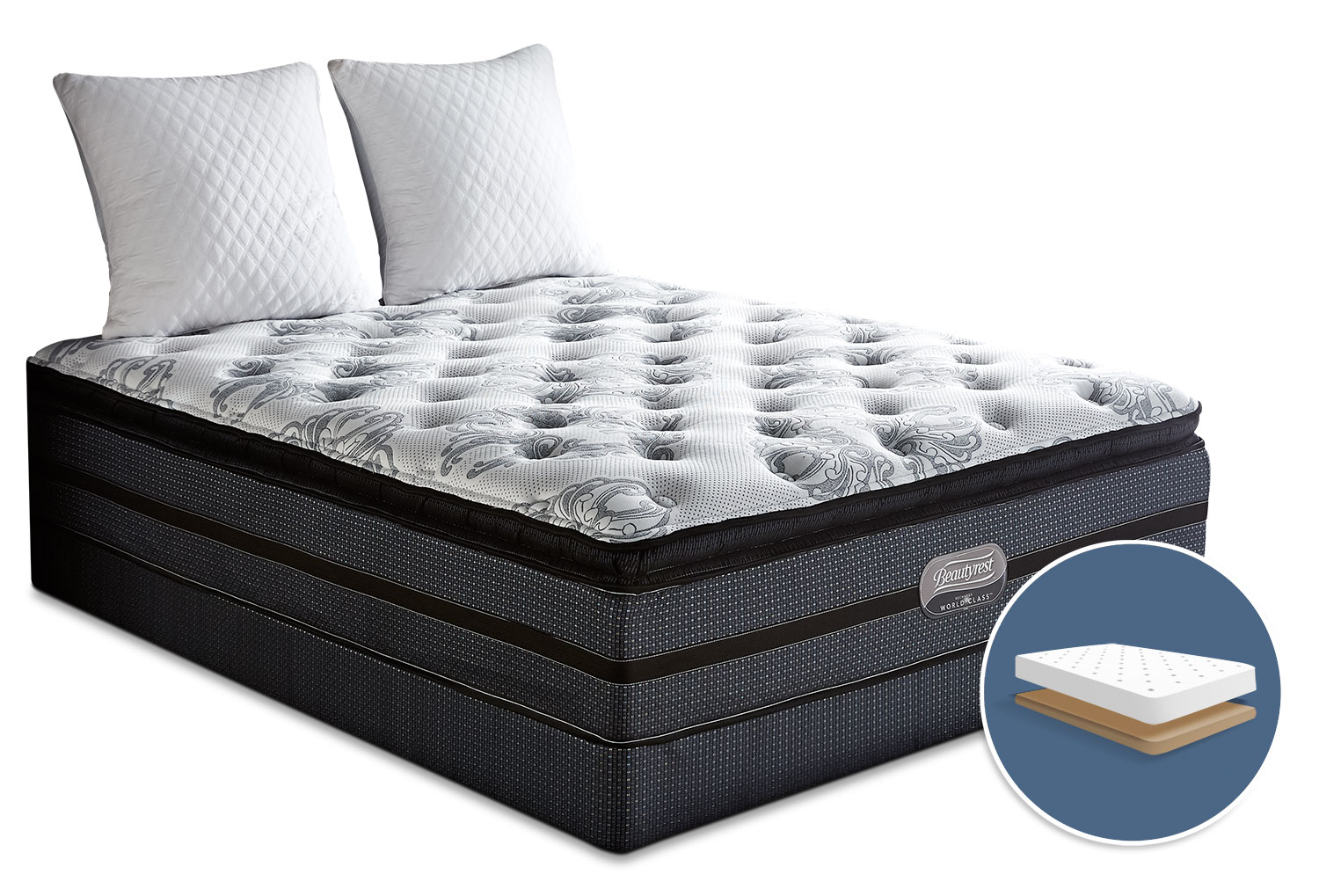 Simmons Beautyrest® World Class Helmsley Pillow-Top Plush Low-Profile Queen Mattress Set