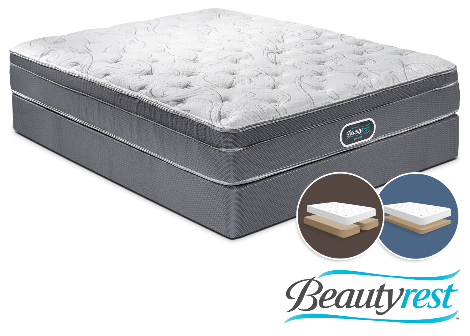 Mattresses and Bedding - Simmons Prince Edward King Mattress and Split Low-Profile Boxspring Set