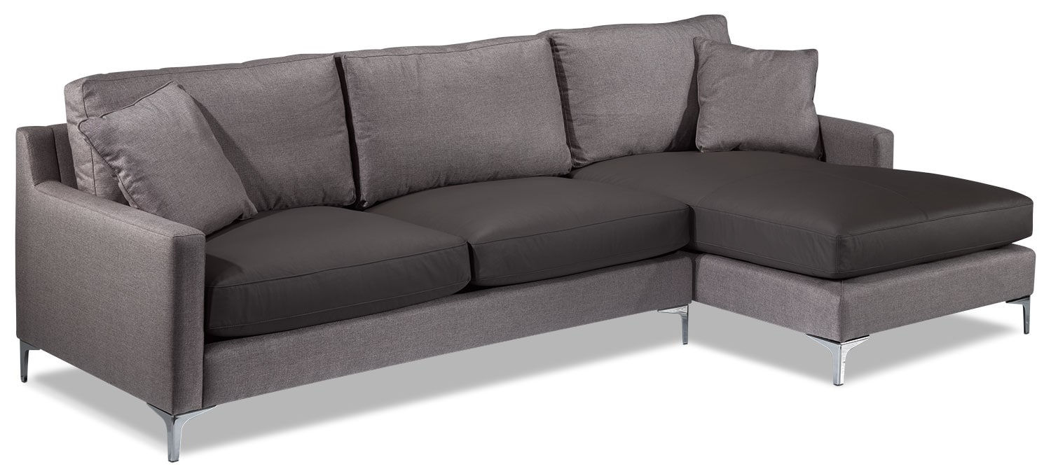 Living Room Furniture - Sophie 2-Piece Sectional - Grey
