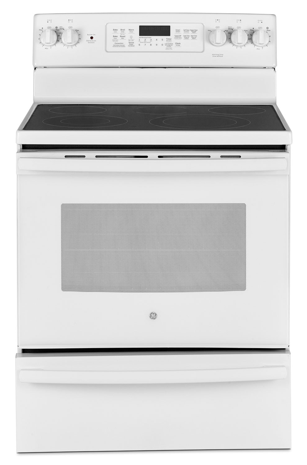 GE 5.0 Cu. Ft. Freestanding Electric Range with Warming Drawer – JCB860DKWW