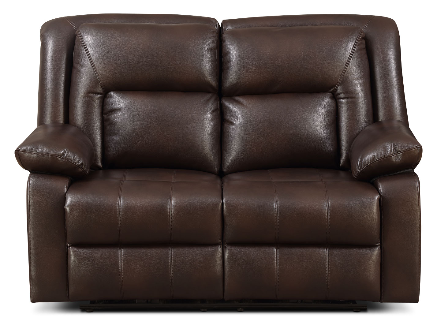 Living Room Furniture - Blane Leather-Look Fabric Power Reclining Loveseat – Brown