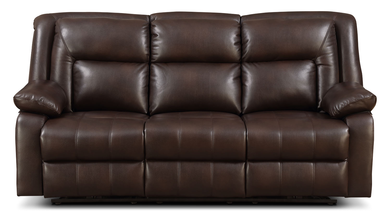 Living Room Furniture - Blane Leather-Look Fabric Power Reclining Sofa – Brown