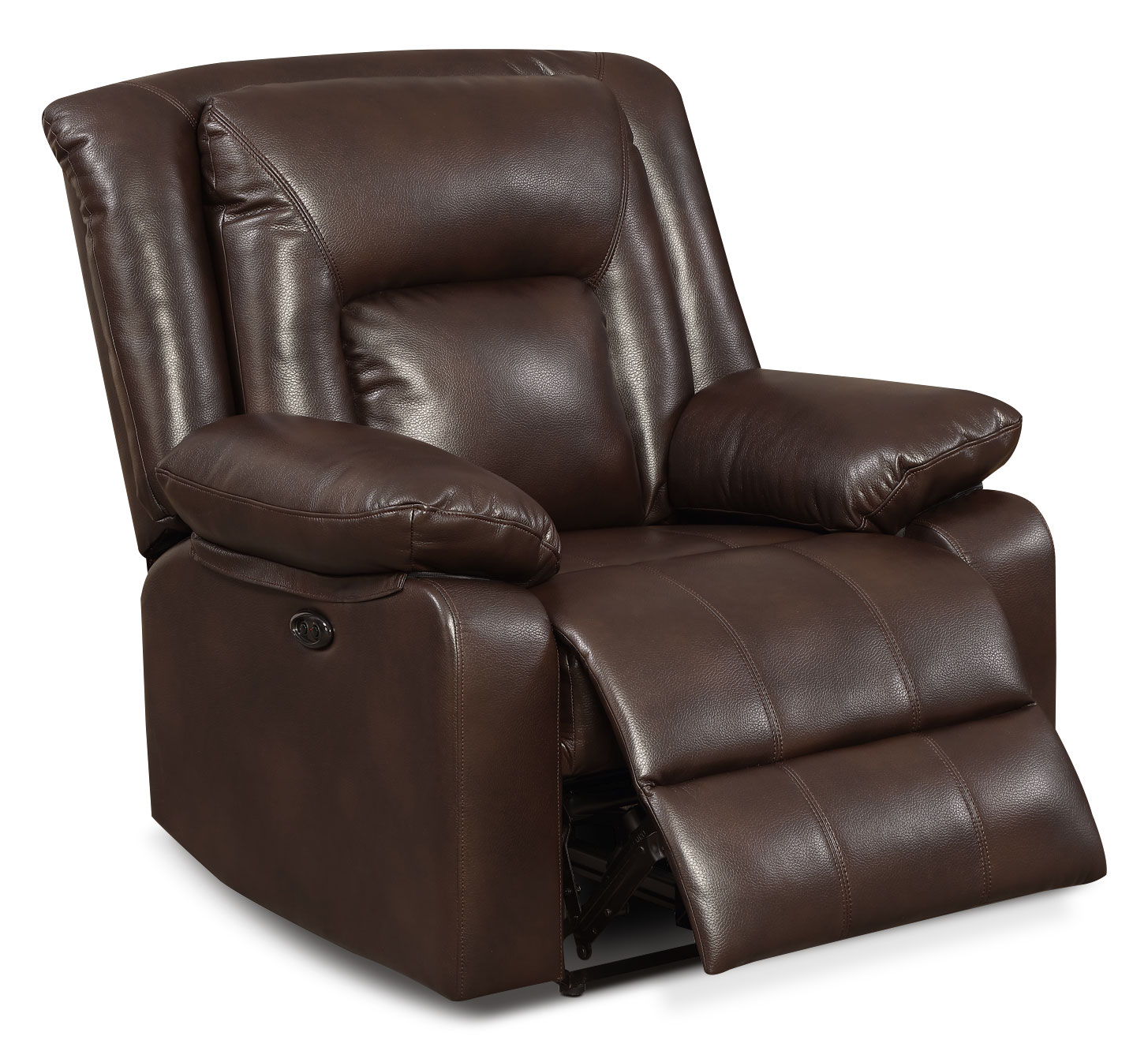 Living Room Furniture - Blane Leather-Look Fabric Power Reclining Chair – Brown